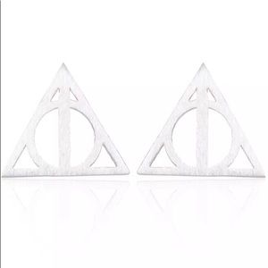 Silver Toned Deathly Hallows Earring Pair